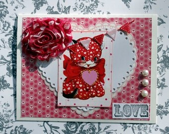 Kitty Cat Valentines  Day Card