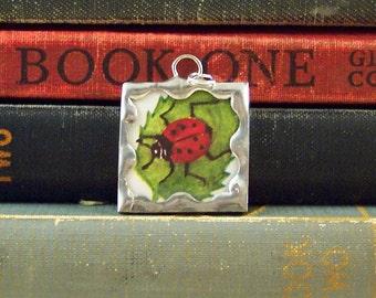 Ladybug Pendant - Soldered Glass Charm - Ladybug Charm - Insect Bug Pendant - Gardener Necklace - Vintage Ladybug Book Illustration