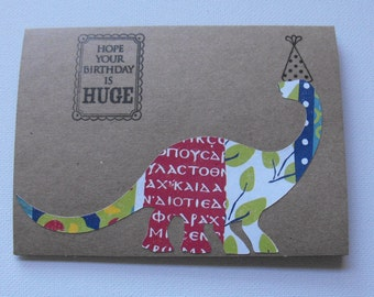 Dinosaur Stationery Happy Birthday Hand Made Cards by The Paper Peddler set of six