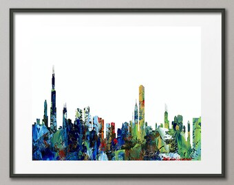 Colorful Art Print Chicago Skyline Cityscape Landscape Map Geographic Map Contemporary Abstract Elena