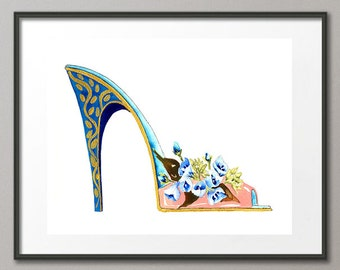 Fine Art Print Bluebells Flower Shoes Stiletto Fashion Colorful Watercolor Painting Abstract Modern Contemporary Elena