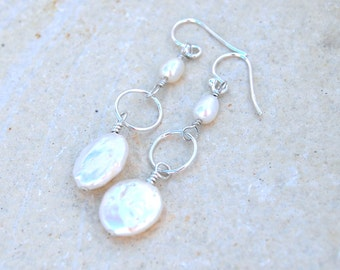 Sterling Silver White Coin Pearl and freshwater pearl linked drop earrings