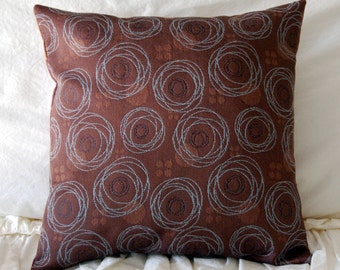Merlon Modern Cushion / minimalist bedding / chocolate brown throw pillow / geometric circles / brown modern accent pillow / brown and blue