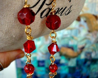 Scarlett and Rhett Crystal and Glass Drop sizzle Earrings