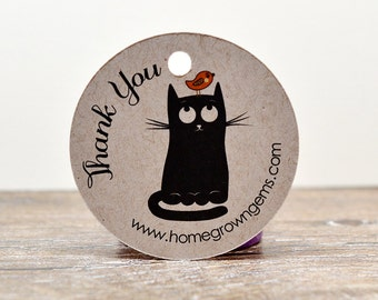 Black Cat Bird on Head Thank you Hang Tags - Gift Party Favor - Price Tags