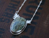 Sea Lettuce, a Horse Canyon Moss Agate and silver necklace