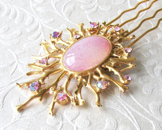 Vintage Rhinestone Jewelry Hairpiece Cosmic Gold Starburst Hair Comb Pink Aurora Borealis Headpiece Galaxy GoT Wedding Bohemian Chic Bride