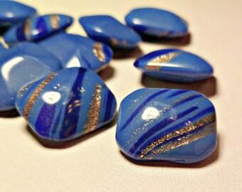 12 Vintage 12x10mm German Blue Copper Striped Jewels (54-8B-12)
