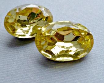 Two Czech 18x13mm Jonquil Yellow Oval Glass Rhinestone Jewels (56-5B-2)