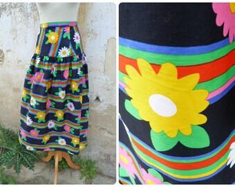 Vintage 1970 mod graphic pop  long skirt size L