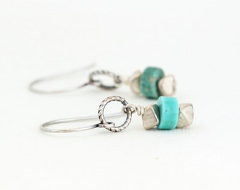 Boho Chic Dangle Earrings -Southwestern - Silver and Turquoise Bohemian Earrings - Gift For Woman