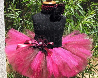 Raspberry and Brown, Autumn Rose, Custom Sewn Tutu Fall Harvest Festival Tutu for Girls Babies Toddlers Tweens, Birthday Tutu Set Photo Prop