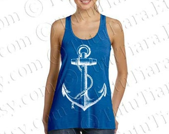 Anchor Shirt, Women's Flowy Tank with Large Graphic Anchor, Tank Top for Women, Juniors, Teens, Many Colors Available, S M L Xl