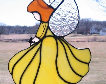 Light Yellow and White Stained Glass Angel, Guardian Angel, Confirmation Gift, Communion Gift  Glass Angel Ornament