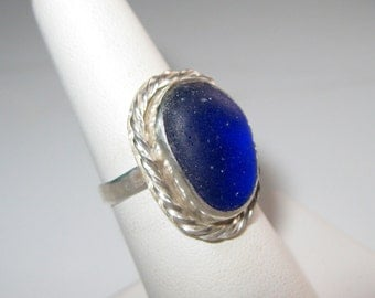 Cobalt Blue Sea Glass Ring Size 6 1/2 - R-075
