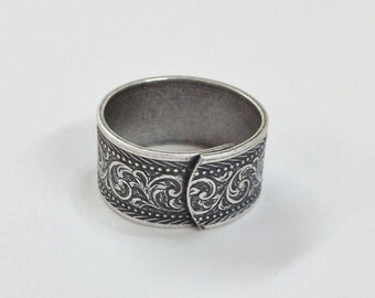 Wide Ring Blanks - 4 Antiqued Silver Ox VICTORIAN Wide Band Adjustable Ring Blanks