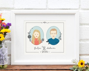 Custom Couple Illustrated Portrait Gift For New Couple New Family Illustration Family Portrait Custom Portraits Art Print Pic of Us