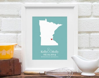 Custom State Map Art, Personalized Wedding Gift, Personalized Midwest Map, Minnesota 8x10 Art Print, One Year Anniversary Gift Paper Art