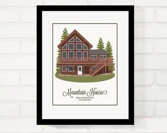 House Portrait, Personalized Gift for Parents, Welcome Home, Home Illustration, Grandma's House, Housewarming, Foyer Art - 8x10 Art Print