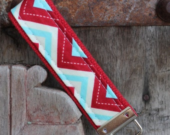 READY TO SHIP-Beautiful Key Fob/Keychain/Wristlet-Red and Blue Chevron On Red