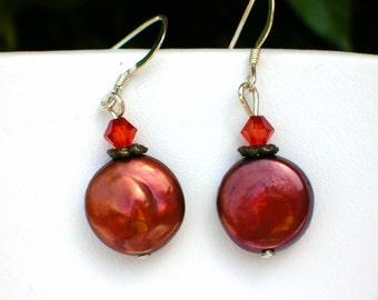 Pomegranate Red Freshwater Pearl Earrings E-040