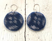 Blue Kasuri Textile Earrings with Sterling Ear Wires