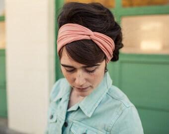 Tea Rose Twist stretch headwrap Garlands of Grace headband hair headcovering