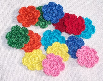 14 handmade cotton thread crochet applique flowers  -- 939