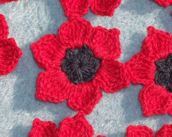 12 handmade black and red crochet applique flowers  --  610