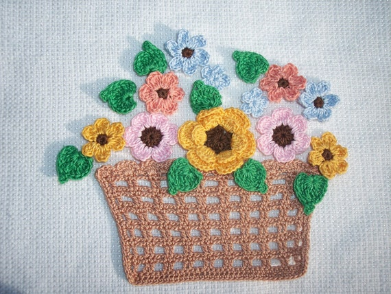 Handmade Crochet Basket : Handmade crochet basket with flowers green leaves
