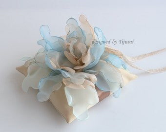 """Wedding ring pillow 5.5""""x5.5""""  with curly flower mix of blue and beige---wedding rings pillow , wedding pillow, rings cushion"""