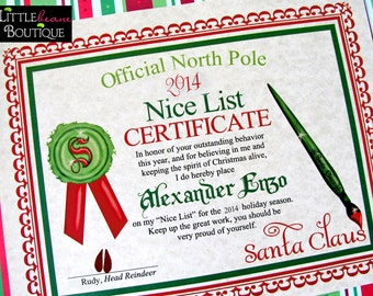 Printable Santa's Nice List Certificate,DIY Santa Letter,Santa Claus Nice list,Stocking Stuffer,Printable Santa Letter,Children,Kids