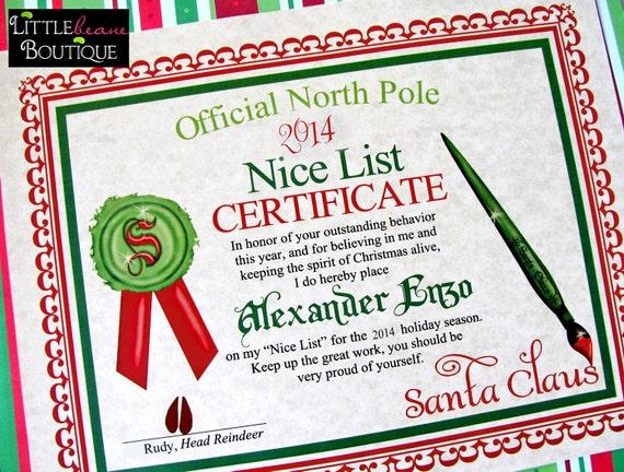 Printable santa39s nice list certificatediy santa for Nice list santa letter