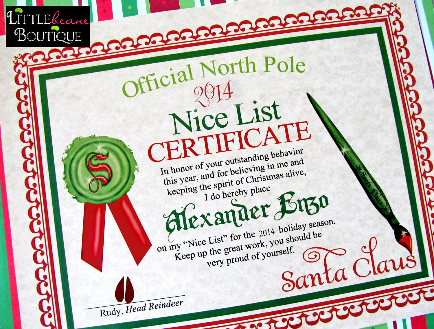 printable santa39s nice list certificatediy santa With santa letter and certificate
