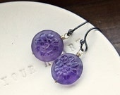 Carved Purple Amethyst Floral Coins Mixed Metal Wire Wrapped Dangles