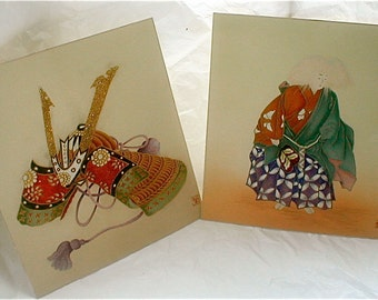 Water Color Paintings Pair - Silk Paintings with Glitter Japanese Warrior and Armor Vintage 1980s