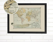 Vintage Map Wall Art, Custom Map, Wild and Free, Pushpin Travel Map