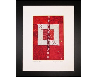 Mini Art Quilt, Framed Abstract Quilt, Red and White