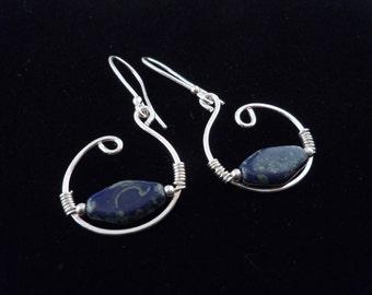 Hoop Earrings, Silver Earrings, Blue Earrings, Denim Earrings, Wire Earrings, Drop Earrings