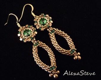 Emerald Green Earrings, Bridal Earrings, Bronze Earrings, Dangle, Pageant Earrings