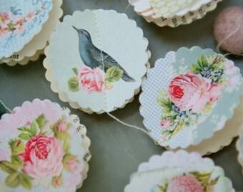 Light blue wedding, Paper garland, Rustic Wedding, Romantic wedding, Bird, Shabby Chic, wedding garland,nursery mobile, baby mobile