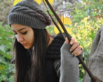 Knit Hat Gray Slouchy  Beanie Beret Chunky  for Women Teens Man Unisex Oversized knit hat