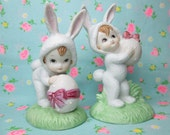 SALE...Vintage Lefton Bunny Pixies...Easter Decor..PerfectlyDarling!!