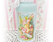 Vintage Bottle Hand Painted and Decorative with French Rose Graphic and Trims, Display, Collectible, Designer, ECS
