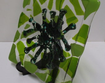 Fused glass plate, green, spider octopus