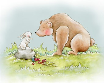 Bear and Bunny Meet Childrens Art Print Illustration