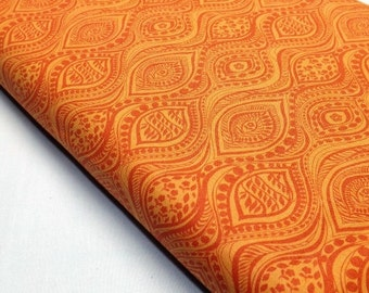 Quilting Sewing Fabric  Bubble and Blooms 6151-59 Orange Burnt Orange Wave Design Print Lyndhurst Studio