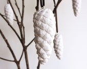 White pine cone decorations - a set of five cast plaster Christmas ornaments handmade in Australia by Kuberstore