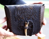 Leather Belt Bag with Celtic Beasts-Celtic Knot Work Leather Belt Bag-Tooled Leather Belt Bag-Brown Leather Belt Bag