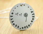 Mothers Necklace personalized with names and dandelion flower - family necklace - kids names
